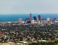 aerial view above Cleveland Ohio skyline Lake Erie