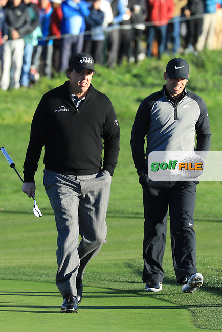 Paul Casey (ENG) and Phil Mickelson (USA) during the final round of the AT&T Pro-Am, Pebble Beach Golf Links, Monterey, USA. 11/02/2019<br /> Picture: Golffile   Phil Inglis<br /> <br /> <br /> All photo usage must carry mandatory copyright credit (© Golffile   Phil Inglis)
