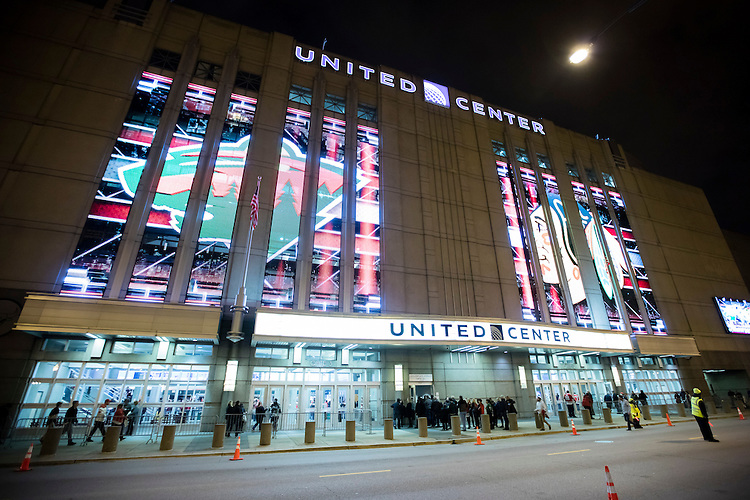 Dazzling LED screens treat fans to some entertainment as they enter the Chicago Blackhawks NHL hockey team's home rink, the United Center, before a mid-season game Tuesday, Dec. 1, 2015. (DePaul University/Jeff Carrion)