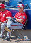29 February 2016: Washington Nationals Bench Coach Chris Speier watches play during an inter-squad pre-season Spring Training game at Space Coast Stadium in Viera, Florida. Mandatory Credit: Ed Wolfstein Photo *** RAW (NEF) Image File Available ***