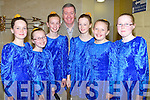 ADVICE; Mike Murphy dance instructor of the Ballymacelligott Dancer given them the last minute advice as they take part in the Lee Strand Scór Na bPaistí 2014 in the Tintean Theatre,Ballybunion on Sunday, l-r: Saoirse Mahony, Eimear Curran, Aisl;ing O'Connell, Mike Murphy, Sadbh Murphy, Emma Leen and Lisa Curran.