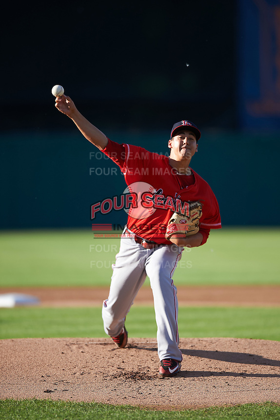 Louisville Bats starting pitcher Robert Stephenson (44) delivers a pitch during a game against the Syracuse Chiefs on June 6, 2016 at NBT Bank Stadium in Syracuse, New York.  Syracuse defeated Louisville 3-1.  (Mike Janes/Four Seam Images)