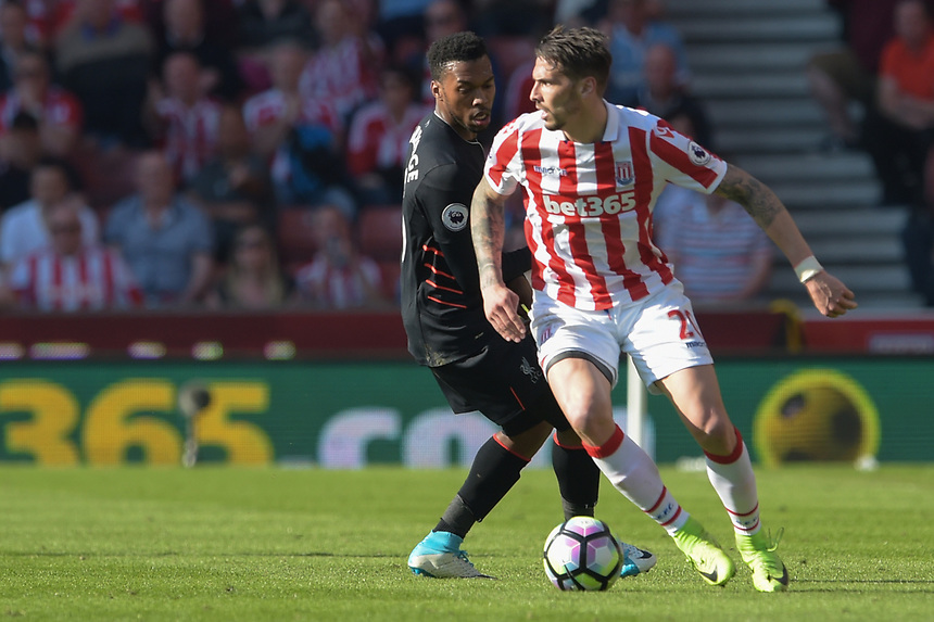 Stoke City's Geoff Cameron under pressure from Liverpool's Daniel Sturridge<br /> <br /> Photographer Terry Donnelly/CameraSport<br /> <br /> The Premier League - Stoke City v Liverpool - Saturday 8th April 2017 - bet365 Stadium - Stoke-on-Trent<br /> <br /> World Copyright &copy; 2017 CameraSport. All rights reserved. 43 Linden Ave. Countesthorpe. Leicester. England. LE8 5PG - Tel: +44 (0) 116 277 4147 - admin@camerasport.com - www.camerasport.com