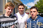 ENGLISH: Students at Gaelchola?iste Chiarrai?, Tralee relax after completing English Paper One of the Junior Cert on Wednesday, l-r: Evan O'Brien, Kieran Moriarty and Conor Ringland.   Copyright Kerry's Eye 2008