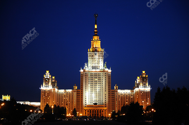 The central building of Moscow State University. Moscow, Russia, July 11, 2009