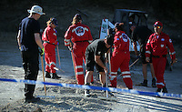 FAO JANET TOMLINSON, DAILY MAIL PICTURE DESK<br /> Pictured: Special forensics police officers with Red Cross workers search a field in Kos, Greece. Saturday 01 October 2016<br /> Re: Police teams led by South Yorkshire Police, searching for missing toddler Ben Needham on the Greek island of Kos have moved to a new area in the field they are searching.<br /> Ben, from Sheffield, was 21 months old when he disappeared on 24 July 1991 during a family holiday.<br /> Digging has begun at a new site after a fresh line of inquiry suggested he could have been crushed by a digger.