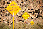 Signs on road warning that there are no traffic signs, Cow Canyon, Douglas Creek Valley, Colorado