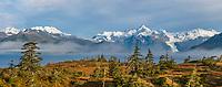 Panorama of Port Wells, Chugach mountains, Cascade glacier, Chugach National Forest, Prince William Sound, southcentral, Alaska.
