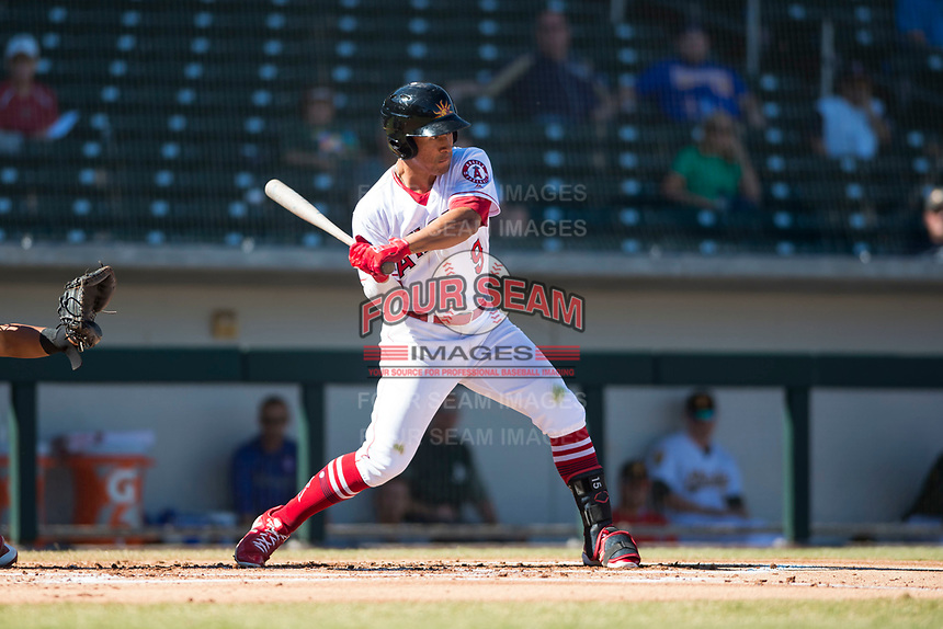 Mesa Solar Sox second baseman Jahmai Jones (9), of the Los Angeles Angels organization, at bat during an Arizona Fall League game against the Surprise Saguaros at Sloan Park on November 1, 2018 in Mesa, Arizona. Surprise defeated Mesa 5-4 . (Zachary Lucy/Four Seam Images)