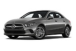 Stock pictures of low aggressive front three quarter view of 2019 Mercedes Benz A-Class A-200 4 Door Sedan Low Aggressive