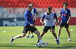 Atletico de Madrid's Hector Herrera (l) and Vitolo Machin during training session. May 28,2020.(ALTERPHOTOS/Atletico de Madrid/Pool)
