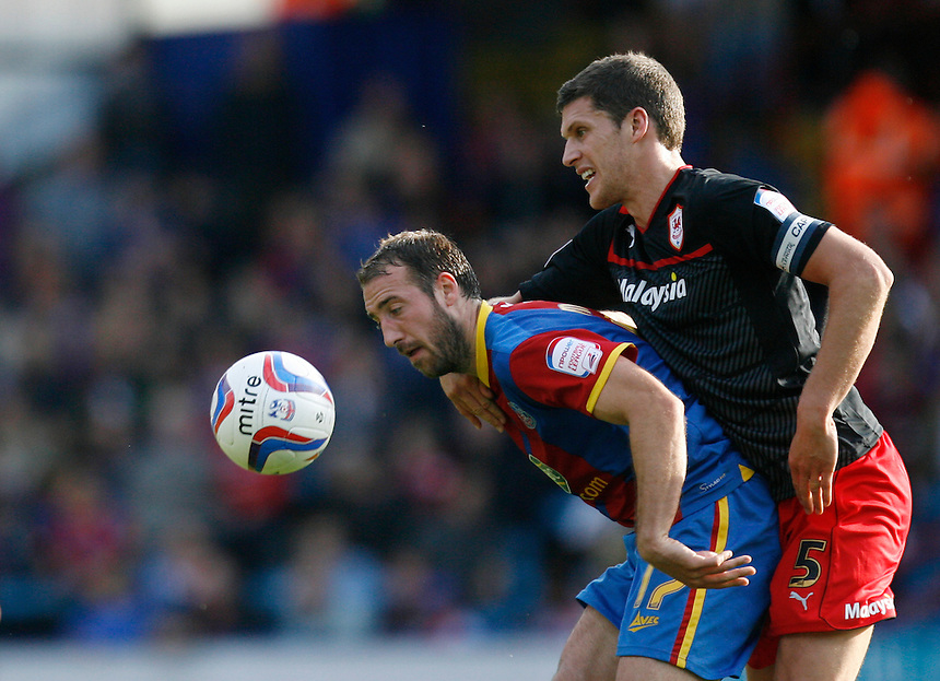 Crystal Palace's Glenn Murray (L) and Cardiff's Mark Hudson in action..Football - npower Football League Championship - Saturday 22nd September 2012 - Crystal Palace v Cardiff City - Selhurst Park - London..?