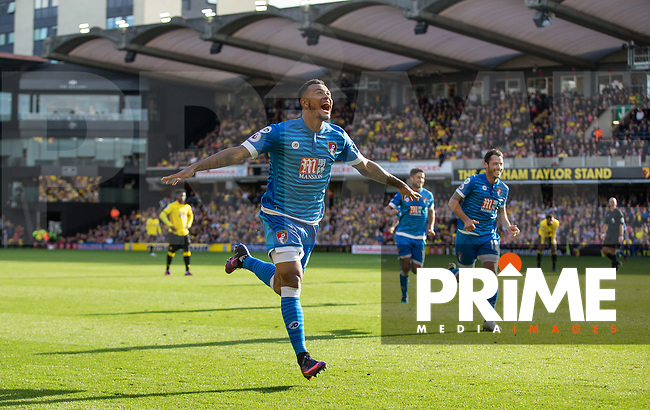 Joshua King of Bournemouth celebrates scoring his goal  during the Premier League match between Watford and Bournemouth at Vicarage Road, Watford, England on 1 October 2016. Photo by Andy Rowland.