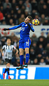 9th December 2017, St James Park, Newcastle upon Tyne, England; EPL Premier League football, Newcastle United versus Leicester City; Jamie Vardy of Leicester City jumps for a header