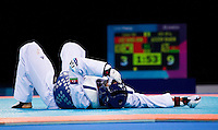 04 DEC 2011 - LONDON, GBR - Ramin Azizov (AZE) recovers during his men's -80kg category semi final contest with Sang-Bin Lee (KOR) at the  London International Taekwondo Invitational and 2012 Olympic Games test event at the ExCel Exhibition Centre in London, Great Britain (PHOTO (C) NIGEL FARROW)