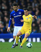 17th March 2019, Goodison Park, Liverpool, England; EPL Premier League Football, Everton versus Chelsea; Andre Gomes of Everton and Pedro of Chelsea of Chelsea compete for the ball