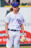 Iowa Cubs pitcher Pierce Johnson (33) looks on from the bullpen during a game against the Colorado Springs Sky Sox on September 4, 2016 at Principal Park in Des Moines, Iowa. Iowa defeated Colorado Springs 5-1. (Brad Krause/Four Seam Images)
