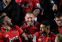 Kieran Read with his Crusaders teammates after the 2019 Super Rugby final between the Crusaders and Jaguares at Orangetheory Stadium in Christchurch, New Zealand on Saturday, 6 July 2019. Photo: Dave Lintott / lintottphoto.co.nz