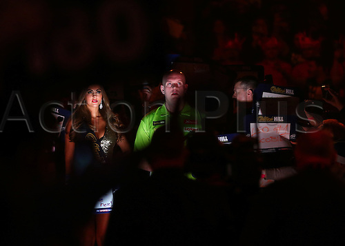 01.01.2017. Alexandra Palace, London, England. William Hill PDC World Darts Championship. Michael van Gerwen prepares to make the walk to the Oche, for his Semi Final match with Raymond van Barneveld