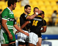 Wellington's Cory Jane congratulates David Smith on his try. Air NZ Cup - Wellington Lions v Manawatu Turbos at Westpac Stadium, Wellington, New Zealand. Saturday 3 October 2009. Photo: Dave Lintott / lintottphoto.co.nz