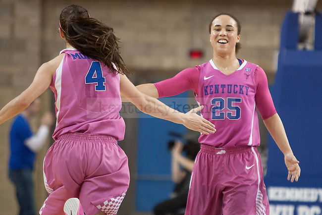 Junior guard Makayla Epps (25) high fives freshman guard Maci Morris (4) after she makes a three during the game against the Arkansas Razorbacks on Sunday, February 21, 2016 in Lexington, Ky. Kentucky won the game 77-63. Photo by Hunter Mitchell | Staff