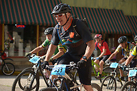 NWA Democrat-Gazette/BEN GOFF @NWABENGOFF<br /> Joe Schield of Lees Summit, Mo. starts in the Category 2 men age 15-49 race Sunday, July 16, 2017, from Basin Park in downtown Eureka Springs before making their way onto the singletrack at Lake Leatherwood City Park during cross country races on the final day of the 19th annual Fat Tire Festival.