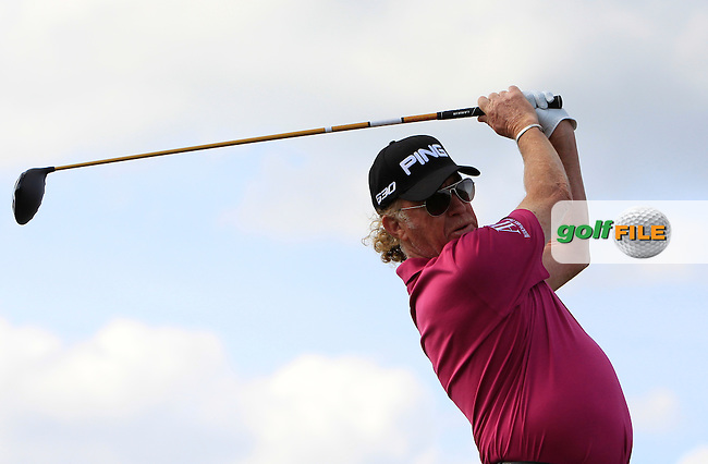 Miguel Angel Jimenez (ESP) on the 4th tee during Round 1 of the 2015 KLM Open at the Kennemer Golf &amp; Country Club in The Netherlands on 10/09/15.<br /> Picture: Thos Caffrey | Golffile