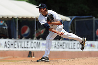 Asheville Tourists starting pitcher Chris Jensen #30 delivers a pitch during a game against the Savannah Sand Gnats at McCormick Field on August 5, 2012 in Asheville, North Carolina. The Tourists defeated the Sand Gnats 5-4. (Tony Farlow/Four Seam Images).