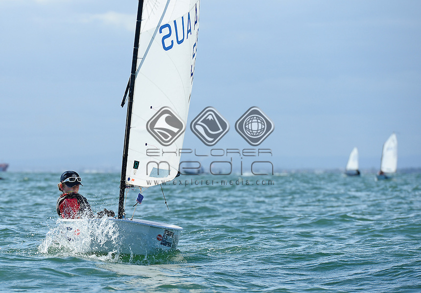 Optimist / Karl SKOGLUND (AUS)<br /> 2013 ISAF Sailing World Cup - Melbourne<br /> Sail Melbourne - The Asia Pacific Regatta<br /> Sandringham Yacht Club, Victoria<br /> December 1st - 8th 2013<br /> &copy; Sport the library / Jeff Crow