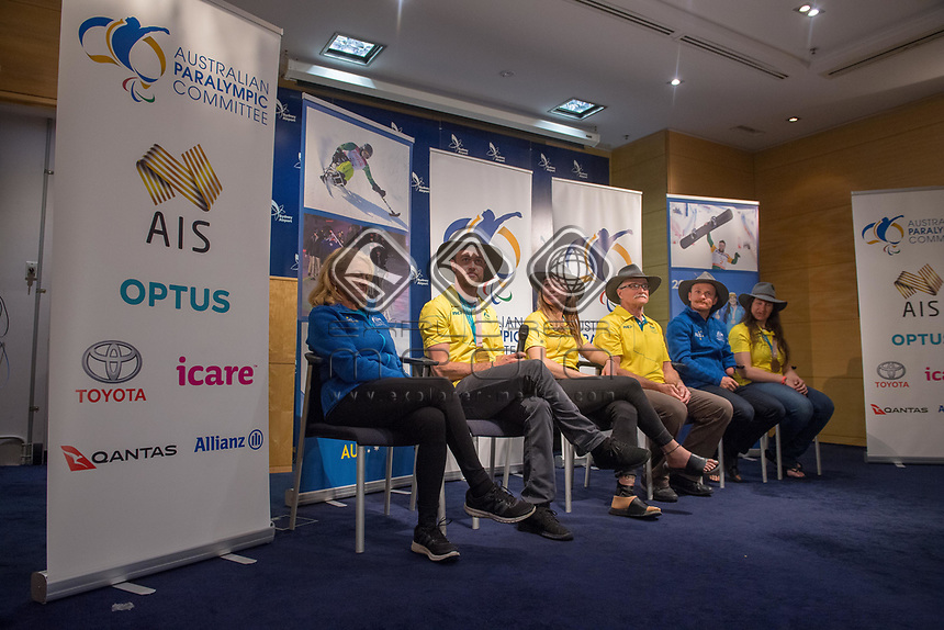 Welcome home / Press Conference / Simon Patmore<br /> PyeongChang 2018 Paralympic Games<br /> Australian Paralympic Committee<br /> Sydney International Airport<br /> PyeongChang South Korea<br /> Tuesday March 20th 2018<br /> &copy; Sport the library / Jeff Crow