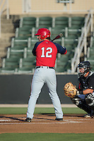 Grant DeBruin (12) of the Hagerstown Suns at bat against the Kannapolis Intimidators at CMC-Northeast Stadium on June 16, 2015 in Kannapolis, North Carolina.  The Suns defeated the Intimidators 8-4.  (Brian Westerholt/Four Seam Images)
