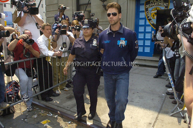 WWW.ACEPIXS.COM . . . . .  ....NEW YORK, JUNE 6, 2005....Russell Crowe is arrested for assault. The star alledgedly threw a cell phone in the face of an employee of the Mercer Hotel where he is currently staying. Crowe was arrested and then taken to Precinct 1. From Precinct 1 he is being taken to Manhattan Criminal Court where he will await arraignment.....Please byline: Ian Wingfield - ACE PICTURES..... *** ***..Ace Pictures, Inc:  ..Craig Ashby (212) 243-8787..e-mail: picturedesk@acepixs.com..web: http://www.acepixs.com