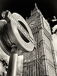 Tube Station Sign and Big Ben Juxtaposed, London, UK