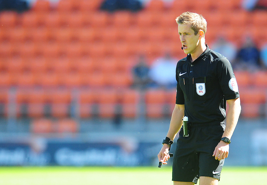 Referee John Brooks<br /> <br /> Photographer Kevin Barnes/CameraSport<br /> <br /> Football - The EFL Sky Bet League Two - Blackpool v Exeter City - Saturday 6th August 2016 - Bloomfield Road - Blackpool<br /> <br /> World Copyright &copy; 2016 CameraSport. All rights reserved. 43 Linden Ave. Countesthorpe. Leicester. England. LE8 5PG - Tel: +44 (0) 116 277 4147 - admin@camerasport.com - www.camerasport.com
