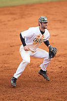 Charlotte 49ers third baseman Derek Gallello (41) on defense against the Akron Zips at Hayes Stadium on February 22, 2015 in Charlotte, North Carolina.  The Zips defeated the 49ers 5-4.  (Brian Westerholt/Four Seam Images)
