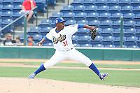 Victor Araujo (31) of the Rancho Cucamonga Quakes during a game against the Visalia Rawhide at LoanMart Field on May 6, 2015 in Rancho Cucamonga, California. Visalia defeated Rancho Cucamonga, 7-2. (Larry Goren/Four Seam Images)