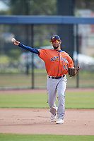 Houston Astros Jonathan Arauz (10) during practice before a Minor League Spring Training Intrasquad game on March 28, 2018 at FITTEAM Ballpark of the Palm Beaches in West Palm Beach, Florida.  (Mike Janes/Four Seam Images)
