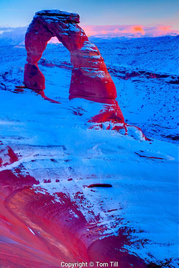 Delicate Arch, Arches National Park, Utah La Sal Mountains beyond, Heavy Winter Snow