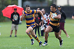 Liam Daniela makes a strong run downfield past Shea Furniss. Premier Counties Power Club Rugby Round 3, Counties Power Game of the Week, between Patumahoe and Bombay, played at Patumahoe on Saturday March 24th 2018. <br /> Photo by Richard Spranger.<br /> <br /> Patumahoe Counties Power Cup Holders won the game 26 - 23 after trailing 7 - 23 at halftime.<br /> Patumahoe 26 - Penalty try, Richard Taupaki, Theodore Solipo, Craig Jones tries; Riley Hohepa 2 conversions. <br /> Bombay 23 - Shaun Muir, Jordan Goldsmith, Liam Daniela, tries; Tim Cossens conversion; Tim Cossens 2 penalties.