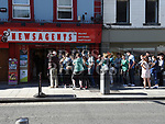 The queue for Ed Sheeran tickets at Jojo's Newsagent West street. Photo:Colin Bell/pressphotos.ie