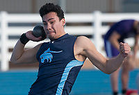 NWA Democrat-Gazette/J.T. WAMPLER Johnny Rodriguez of Har-Ber High School competes in the shot put Thursday March 8, 2018 at the Joe Roberts Relays track meet at Har-Ber High School in Springdale.