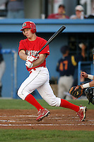 September 1, 2009:  Left Fielder Kyle Conley of the Batavia Muckdogs at bat during a game at Dwyer Stadium in Batavia, NY.  The Muckdogs are the Short-Season Class-A affiliate of the St. Louis Cardinals.  Photo By Mike Janes/Four Seam Images