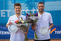 Amstelveen, Netherlands, 1 August 2020, NTC, National Tennis Center, National Tennis Championships, Men's Doubles final: Sander Arends and David Pel (NED) (R) with their trophy<br /> Photo: Henk Koster/tennisimages.com