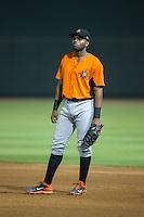 Frederick Keys first baseman Aderlin Rodriguez (9) on defense against the Winston-Salem Dash at BB&T Ballpark on May 24, 2016 in Winston-Salem, North Carolina.  The Keys defeated the Dash 7-1.  (Brian Westerholt/Four Seam Images)