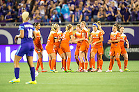 Orlando, Florida - Saturday, April 23, 2016: Houston Dash team try to regroup after falling 0-2 in the second half of an NWSL match between Orlando Pride and Houston Dash at the Orlando Citrus Bowl.