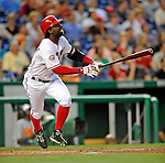 15 August 2008: Washington Nationals' outfielder Lastings Milledge in action against the Colorado Rockies at Nationals Park in Washington, DC.  The Rockies edged out the Nationals 4-3, handing the last place Nationals their 8th consecutive loss. ..Mandatory Photo Credit: Ed Wolfstein Photo