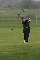 Sjane Lowry (AM)  playing his second shot from the fairway on the 1st on day 3 of the 3 Irish open in Co Louth Golf Club Baltray..Pic Fran Caffrey/golffile.ie