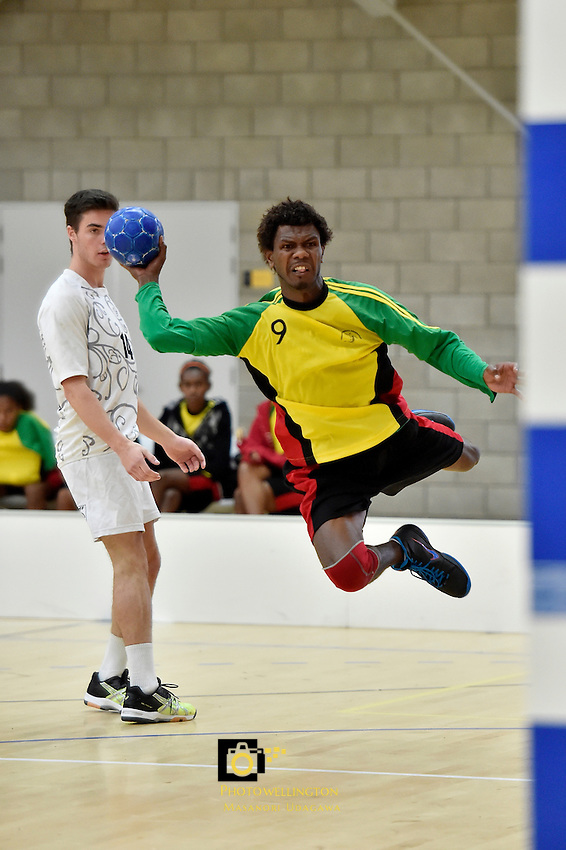 Action from the IHF Trophy Tournament Oceania at ASB Sports Centre, Kilbirnie, Wellington, New Zealand on Tuesday 9 December 2014.<br /> Photo by Masanori Udagawa. <br /> www.photowellington.photoshelter.com.