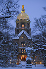 January 2, 2008; Main Building at dusk in winter (Photo by Matt Cashore/University of Notre Dame)