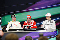 24.06.2012. Valencia, Spain. FIA Formula One World Championship 2012 Grand Prix of Europe Race.  The picture show  Michael Schumacher (German driver of Mercedes GP),  Fernando Alonso (Spanish driver of Ferrari) and  Kimi Raikonen (Finnish driver of Lotus Renault)